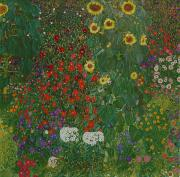 Farm Art Prints - Farm Garden with Flowers Print by Gustav Klimt