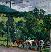 Abstract Realist Landscape Art - Farm Horses Berkshires by Thor Wickstrom