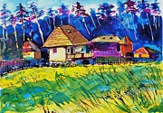 Ion Vincent Danu Art - Farm Houses near Sibiu Romania by Ion vincent DAnu