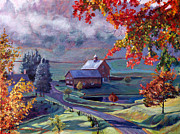 Autumn Trees Painting Prints - Farm In The Dell Print by David Lloyd Glover
