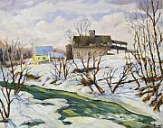 Snow Scene Paintings - Farm in Winter by Richard T Pranke
