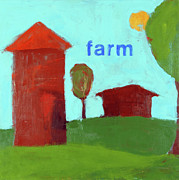 Children Print Painting Originals - Farm by Laurie Breen