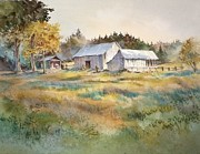 Old Barns Painting Prints - Farm on Denman Island Print by Grant Fuller