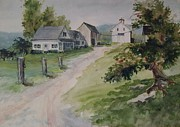 Fineartamerica.com Paintings - Farm on Orchard Hill by Joy Nichols
