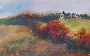 Trees At Sunset Paintings - Farm on the hill at sunset by Joy Nichols