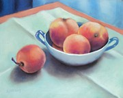 Peaches Pastels Posters - Farm Peaches Poster by Judy Albright