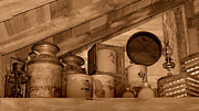 Crocks Prints - Farm Primitives Sepia Tone Print by Carmen Del Valle