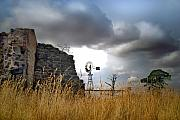 Stormy Skies Acrylic Prints - Farm ruins Acrylic Print by Robert Lacy