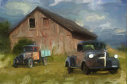 Vintage Painter Digital Art Framed Prints - Farm Scene Framed Print by Jack Zulli