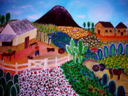 Nipa House Paintings - Farm Town by Pristine Cartera Turkus