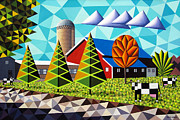 Geometric Shapes Posters - Farm With Three Pines And Cows Poster by Bruce Bodden
