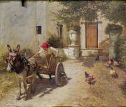 Rooster Paintings - Farm Yard Scene by Henry Herbert La Thangue