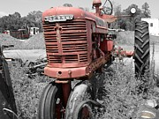 Wibada Photo Framed Prints - Farmall Red Framed Print by Lynda Dawson-Youngclaus