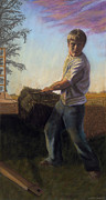 Rural Scenes Pastels - Farmboy 1 by Christian Vandehaar