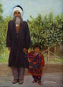 Son Pastels - Farmer and Grand son  by Leonor Thornton