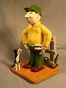 Prairie Dog Ceramics - Farmer and his dog by Bob Dann