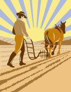 Agriculture Digital Art Metal Prints - Farmer and Horse plowing Metal Print by Aloysius Patrimonio