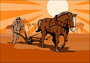 Agriculture Digital Art Metal Prints - Farmer and Horse Plowing Farm Retro Metal Print by Aloysius Patrimonio