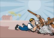 Farmer Dragged Plow Plowing Farm Retro Print by Aloysius Patrimonio