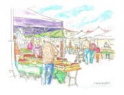 Urban  Drawings Paintings - Farmer-Market-Oxnard-CA by Carlos G Groppa