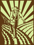 Woodcut Posters - Farmer sowing seeds  Poster by Aloysius Patrimonio