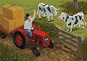 Tractor Trailer Digital Art Prints - Farmer Visiting Cows In Field Print by Martin Davey