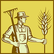 Agriculture Digital Art Metal Prints - Farmer With Rake and Wheat Woodcut Metal Print by Aloysius Patrimonio