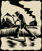 Woodcut Posters - Farmer with scythe Poster by Aloysius Patrimonio