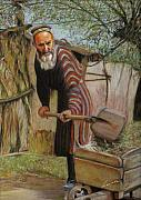 Men Pastels Posters - Farmer working in a kolko Poster by Leonor Thornton