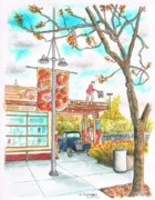 Landmarks Paintings - Farmers-Market-3rd-and-Fairfax-Gilmore-Gas-Station-Los Angeles-CA by Carlos G Groppa