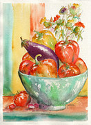 Fruit Bowl Paintings - Farmers Market Bounty by Pat Katz