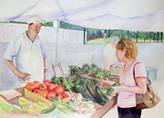 East Hampton Painting Framed Prints - Farmers Market Framed Print by Katherine  Berlin