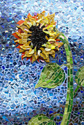 Sunflower Glass Art - Farmers Market by Lee Ann Petropoulos