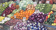 Local Food Painting Framed Prints - Farmers Market Framed Print by Nancy Pahl