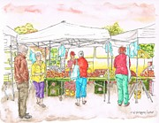 Watercolors Painting Originals - Farmers-Market-Oxnard-California by Carlos G Groppa