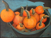 Pumpkins Paintings - Farmers Market Pumpkins by Edith Hunsberger