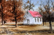 Fall Scenes Paintings - Farmers Ridge School by Don Cull