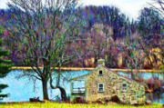 Farm Digital Art Posters - Farmhouse by the Lake Poster by Bill Cannon