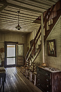 Flight Of Stairs Posters - Farmhouse Entry Hall and Stairs Poster by Lynn Palmer