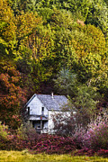 Country Cottage Photos - Farmhouse in Fall by Debra and Dave Vanderlaan