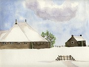 Shed Painting Posters - Farmhouse in the snow Poster by Annemeet Van der Leij