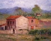 Villa Paintings - Farmhouse in Tuscany by R W Goetting