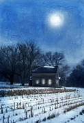 Snowy Evening Framed Prints - Farmhouse Under Full Moon in Winter Framed Print by Jill Battaglia