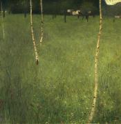 Trees Paintings - Farmhouse with Birch Trees by Gustav Klimt
