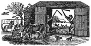 19th Century America Prints - Farming: Threshing Print by Granger