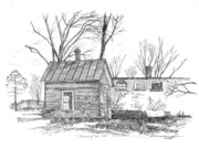 Pen And Ink Rural Framed Prints - Farmington Line Shack Framed Print by Peter Muzyka