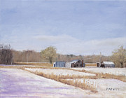 Farm Buildings Painting Originals - Farmland in Winter  Concord Massachusetts by Mark Pimentel