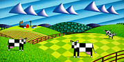 Farm Fields Paintings - Farmland With Hills And Cows by Bruce Bodden