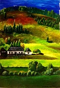 Tree Lines Painting Posters - Farmstead at the foot of a hill Poster by Cecilia Putter