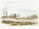 Winter Scene Paintings - Farmstead In Winter by Samuel Showman